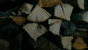 Fitted Firewood for Furnace Firing. This video shows Fitted Firewood for Furnace Firing stock video