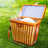 Fitted wicker picnic basket or hamper Royalty Free Stock Image