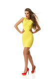 Fitted Yellow Mini Dress Stock Images