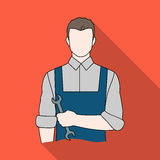 Fitter mechanic.Professions single icon in flat style vector symbol stock illustration web. Stock Photo