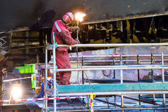 Fitter shipbuilding. Firing at the hull bottom plates for shipbuilding fitter tanker Stock Images