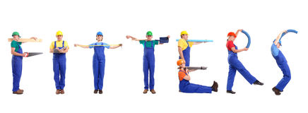 Fitters. Group of young people wearing different color uniforms and hard hats forming Fitters word - isolated on white background royalty free stock photography