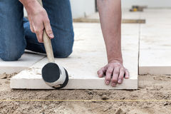 Fitting the concrete slab stock photo