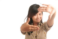 Fitting face in arms. Asian pretty woman fitting face in arms Royalty Free Stock Photography