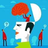 Fitting a mind in human head.  Royalty Free Stock Photo