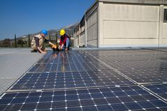 Fitting photovoltaic panels Royalty Free Stock Image