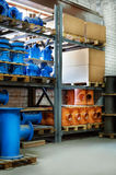Fitting for Plastic pipes stacked in a warehouse yard use plumbing or sewage installations on construction site Stock Images