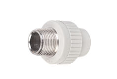 Fitting - PVC connection coupler to connect polypropylene tubes Stock Image