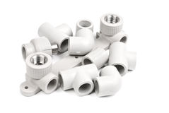 Fitting - PVC connection coupler to connect polypropylene tubes Stock Photo