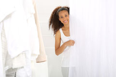 Fitting room, woman shopping. Stock Images