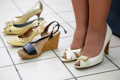 Fitting shoes Stock Images