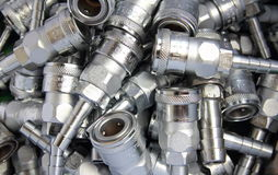 The fittings for metal pipes(cople). Fittings for metal pipes(cople) in line production industry Royalty Free Stock Image