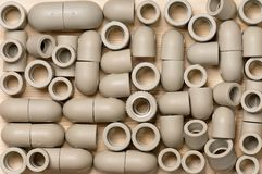 Fittings for plastic pipes Stock Image