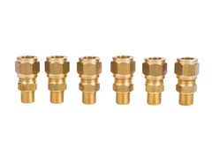 Fittings for water pipe brass joints Royalty Free Stock Photos