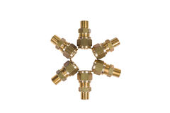 Fittings for water pipe brass joints Stock Images