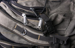 Fittings and zips in the backpack Stock Images