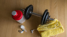 Fittness equipment. In gym, shaker, towel, bcaa Stock Images