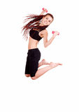 Fittness teen girl jumping. White background Royalty Free Stock Image