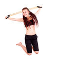 Fittness teen girl jumping. White background Royalty Free Stock Images