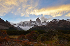 Fitz Roy Autumn Color and sunset Stock Photography
