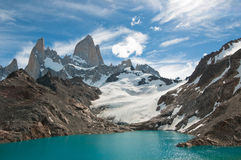 Fitz Roy berg och Laguna de los Tres, Patagonia Arkivbild