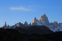Fitz Roy and Cerro Torre mountainline at sunset, Patagonia, Argentina Royalty Free Stock Photos