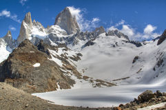 Fitz Roy in El Chalten, Argentina. View over the Fitz Roy mountain in El Chalten, Argentina Royalty Free Stock Images