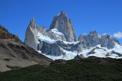 Fitz Roy mountain close up view. Fitz Roy is a mountain located near El Chalten stock photos