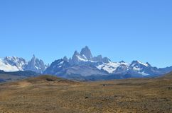 Fitz Roy Mountain view from the patagonian route. Fitz Roy mountain and Cordillera de los Andes in a Sunny day Royalty Free Stock Photo