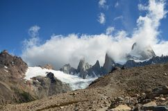 Fitz Roy Mountain covered by clouds. This view is from argentina, and by the other side of the mountain chain, chile begins Stock Image