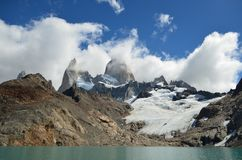 Fitz Roy Mountain covered by clouds. By the lake in a cloudy day Royalty Free Stock Photography