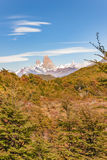 Fitz Roy Mountain Distant View, Aisen Chile. Patagonia landscape scene distant view andes range with famous Fitz Roy mountain as main subject, Aisen - Chile stock photo