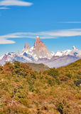 Fitz Roy Mountain Distant View, Aisen Chile. Patagonia landscape scene distant view andes range with famous Fitz Roy mountain as main subject, Aisen - Chile royalty free stock photo
