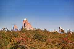 Fitz Roy Mountain Distant View, Aisen Chile. Patagonia landscape scene distant view andes range with famous Fitz Roy mountain as main subject, Aisen - Chile royalty free stock photography