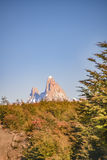 Fitz Roy Mountain Distant View, Aisen Chile. Patagonia landscape scene distant view andes range with famous Fitz Roy mountain as main subject, Aisen - Chile stock photography
