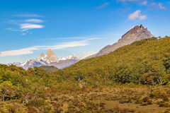 Fitz Roy Mountain Distant View, Aisen Chile. Patagonia landscape scene distant view of andes range with famous Fitz Roy mountain as main subject, Aisen - Chile stock photo