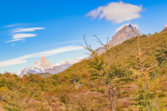 Fitz Roy Mountain Distant View, Aisen Chile. Patagonia landscape scene distant view andes range with famous Fitz Roy mountain as main subject, Aisen - Chile royalty free stock photos