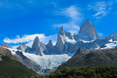 Fitz Roy mountain in the far Stock Images
