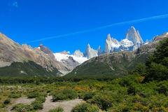 Fitz Roy mountain in the far Stock Image