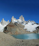 Fitz Roy mountain and lake royalty free stock photography