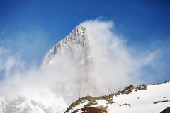 Fitz Roy Mountain in nuvole, Argentina Fotografia Stock Libera da Diritti