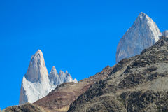 Fitz Roy mountain peaks in the far Royalty Free Stock Image