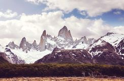 Fitz Roy Mountain Range wilderness, Argentina. Royalty Free Stock Images