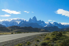 Fitz Roy mountain from the road Stock Images