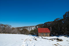 Fitzgerald Hut. On the Bogong High Plains after early autumn snowfall Royalty Free Stock Photos