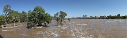 Fitzroy River Flood Panorama. Rockhampton, Queensland, Australia Stock Images