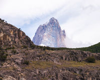 Fitzroy seen from el chalten in clouds Royalty Free Stock Photos