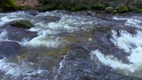 Fiume, acqua che circolano sulle rocce e massi della montagna archivi video