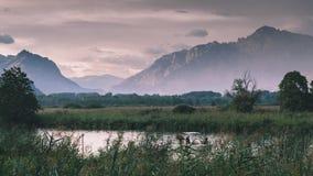 Fiume Adda in Italia del Nord, vicino al lago Como Immagini Stock