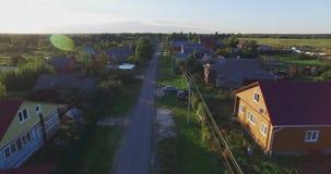 Fiume aereo, architettura, strade delle vie ed appartamenti a Mosca video d archivio